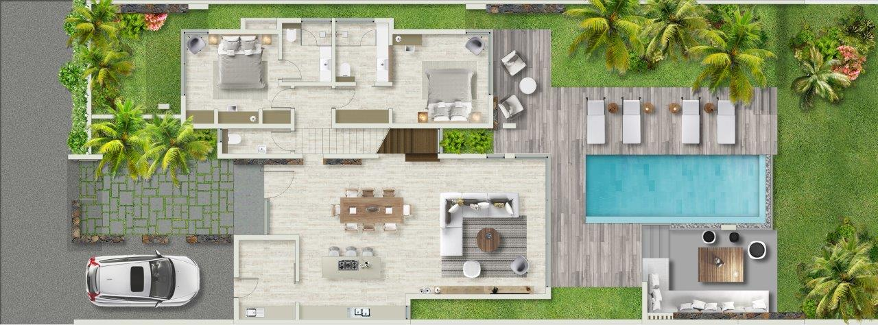 Villa de luxe azuri riviera villas immobilier ile maurice for Plan de villa de luxe