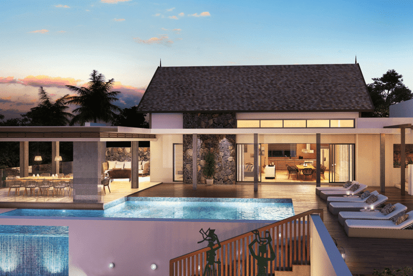 Villa paille en queue baie du cap Anbalaba immobilier ile maurice